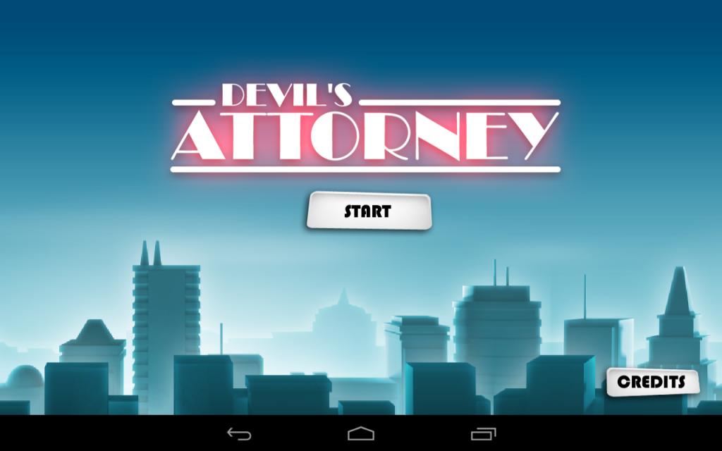 Devil's Attorney Start Screen