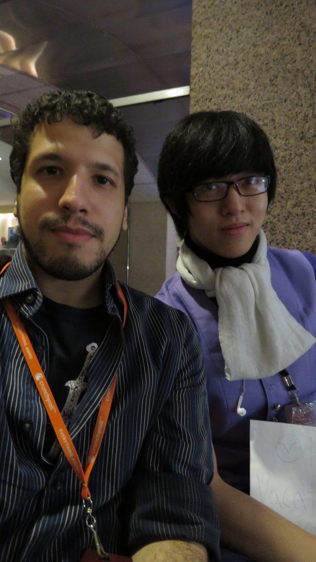 Bernardo Espanol in a chess game to a Cosplayer at Liberty City Anime Con